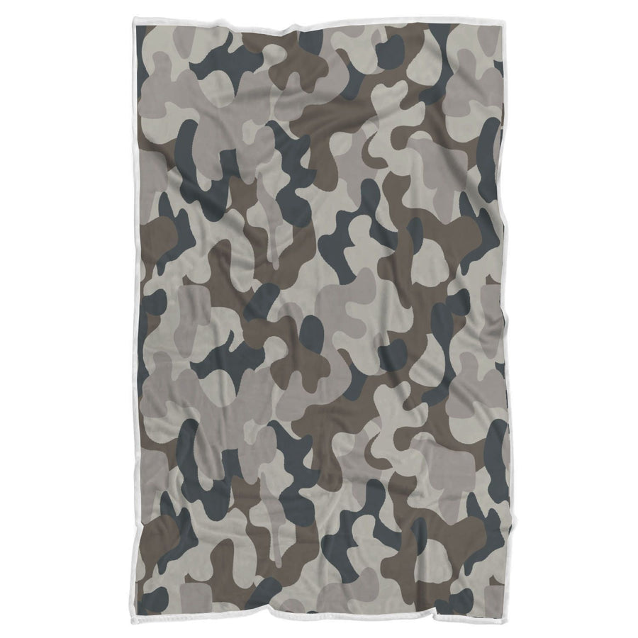 Grey And Brown Camouflage Print Sherpa Blanket GearFrost
