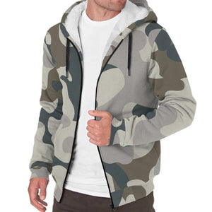 Grey And Brown Camouflage Print Sherpa Lined Fleece Hoodie GearFrost