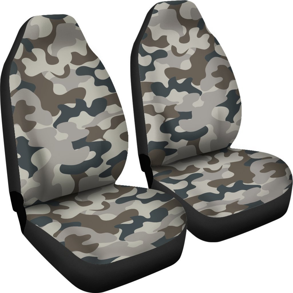 Grey And Brown Camouflage Print Universal Fit Car Seat Covers GearFrost