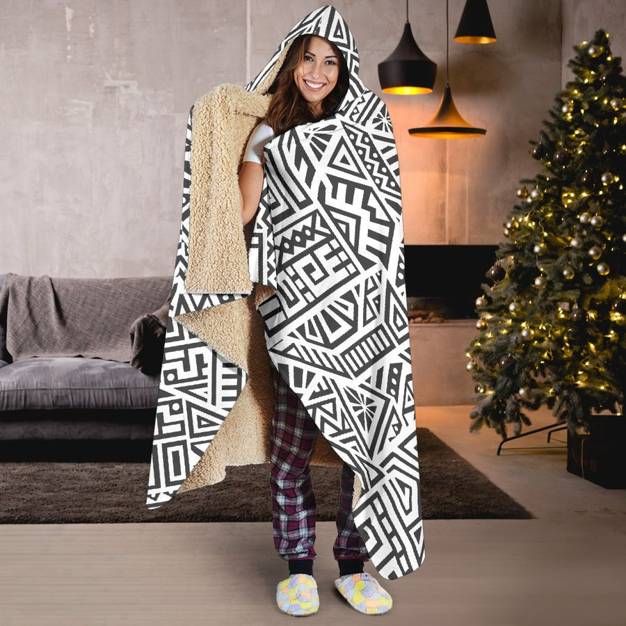 Grey And White Aztec Pattern Print Hooded Blanket GearFrost