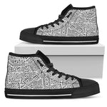 Grey And White Aztec Pattern Print Men's High Top Shoes GearFrost