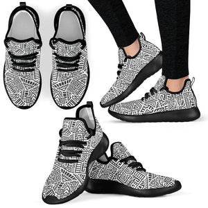 Grey And White Aztec Pattern Print Mesh Knit Shoes GearFrost