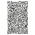 Grey And White Aztec Pattern Print Sherpa Blanket GearFrost