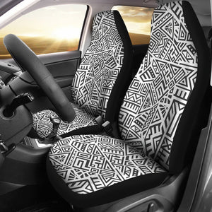Grey And White Aztec Pattern Print Universal Fit Car Seat Covers GearFrost