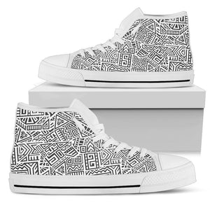 Grey And White Aztec Pattern Print Women's High Top Shoes GearFrost