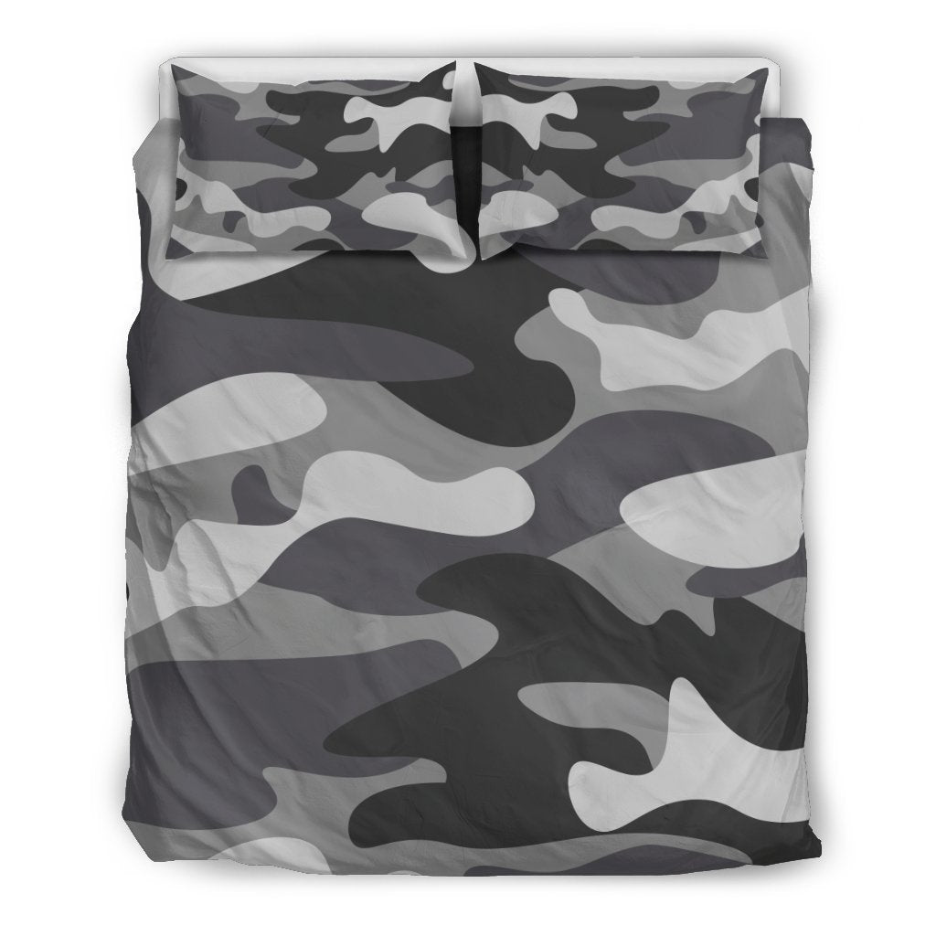 Grey And White Camouflage Print Duvet Cover Bedding Set GearFrost