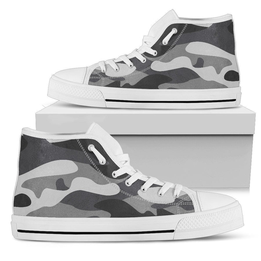 Grey And White Camouflage Print Men's High Top Shoes GearFrost