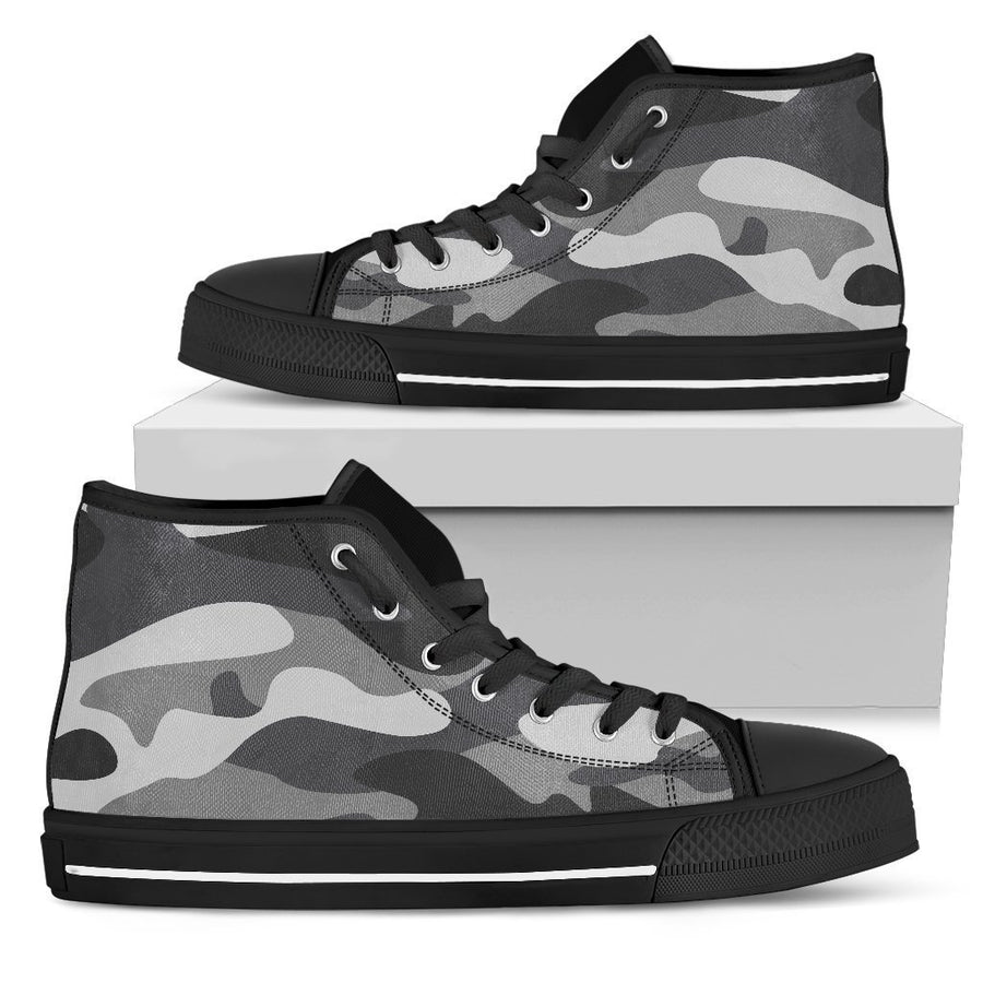 Grey And White Camouflage Print Women's High Top Shoes GearFrost