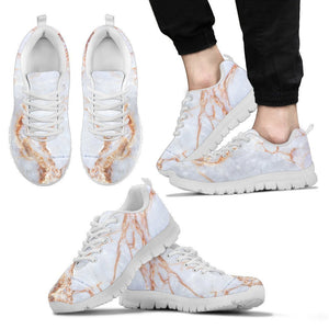 Grey Bronze Marble Print Men's Sneakers GearFrost