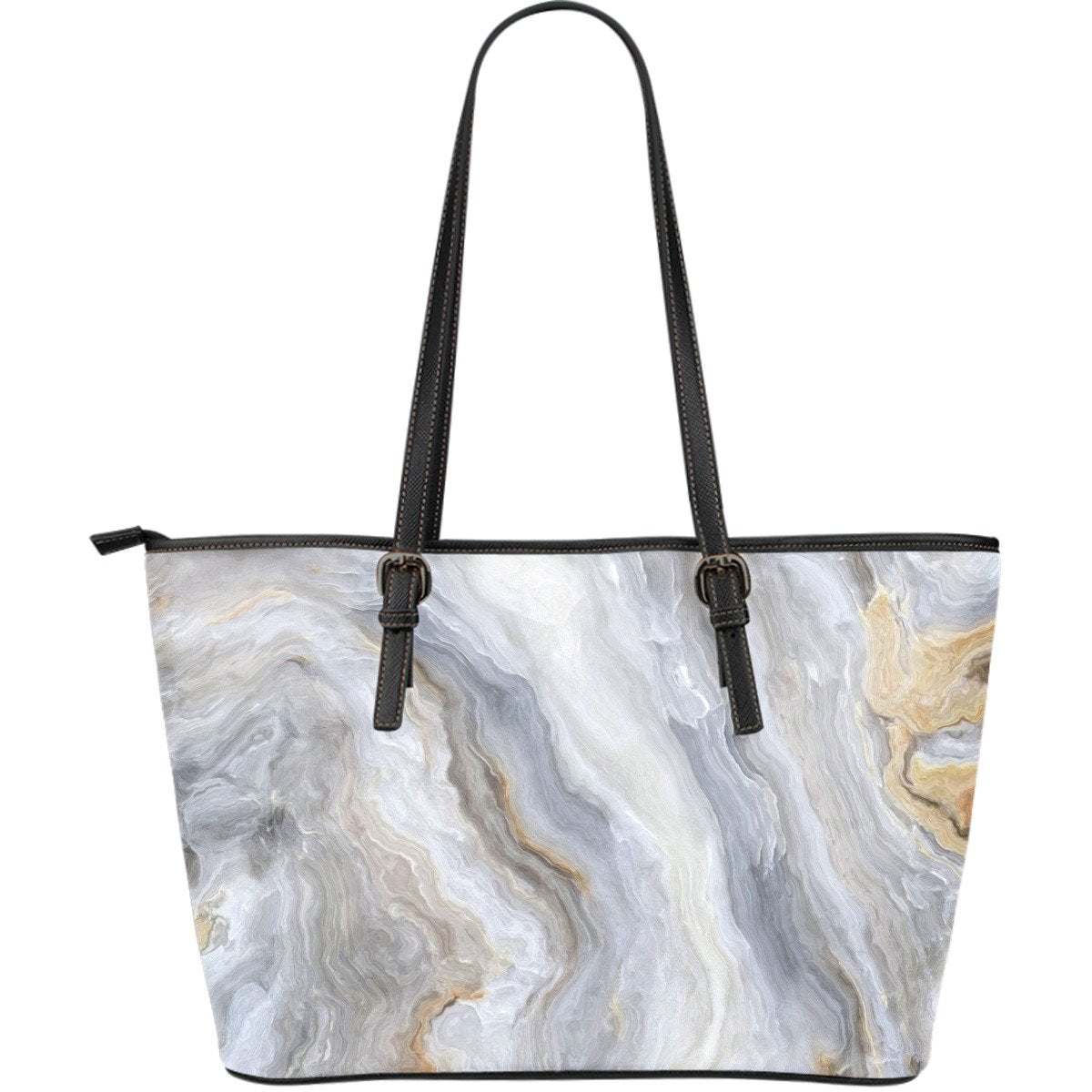 Grey Marble Print Leather Tote Bag GearFrost