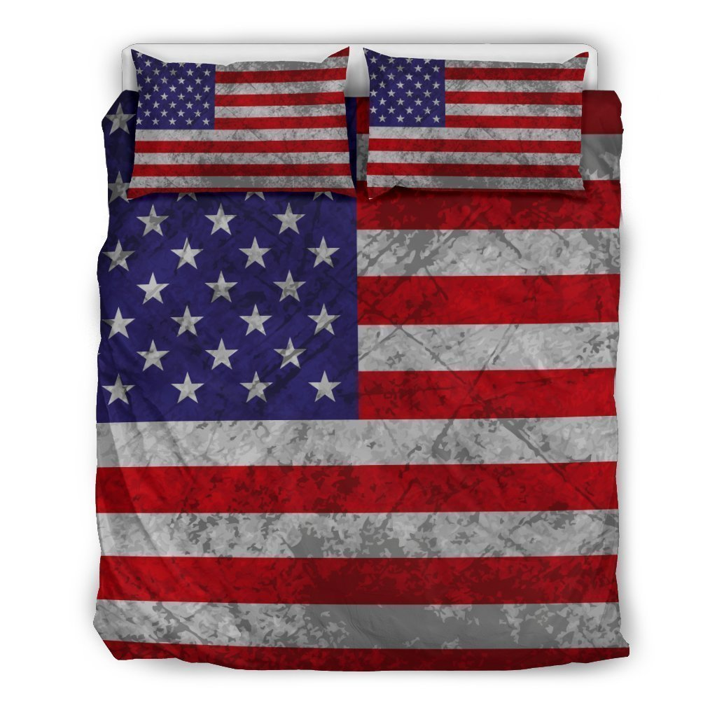 Grunge American Flag Patriotic Duvet Cover Bedding Set GearFrost