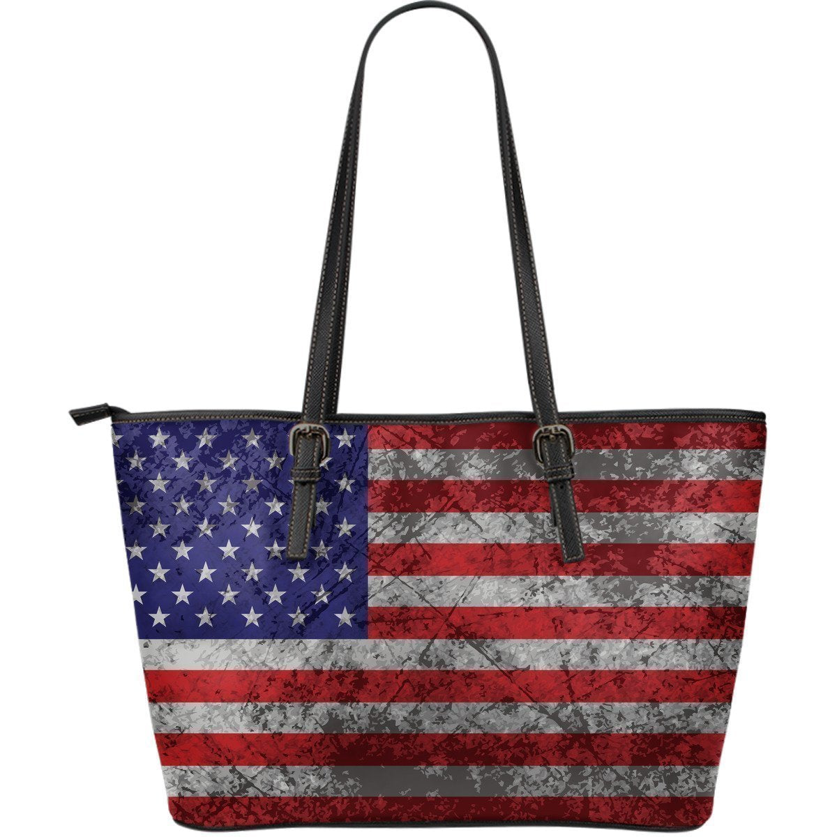 Grunge American Flag Patriotic Leather Tote Bag GearFrost
