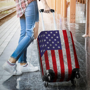 Grunge American Flag Patriotic Luggage Cover GearFrost