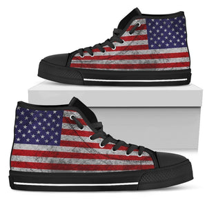 Grunge American Flag Patriotic Men's High Top Shoes GearFrost