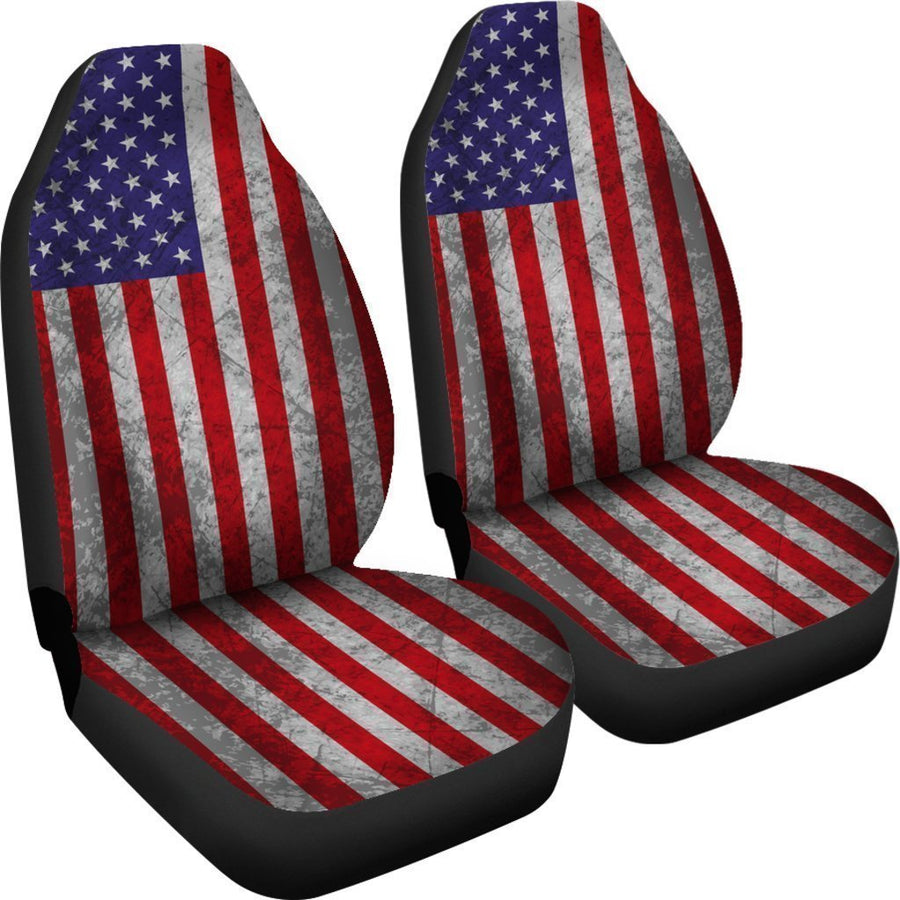 Grunge American Flag Patriotic Universal Fit Car Seat Covers GearFrost