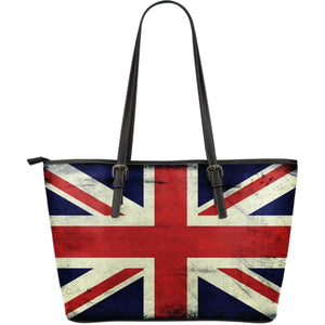 Grunge Union Jack British Flag Print Leather Tote Bag GearFrost