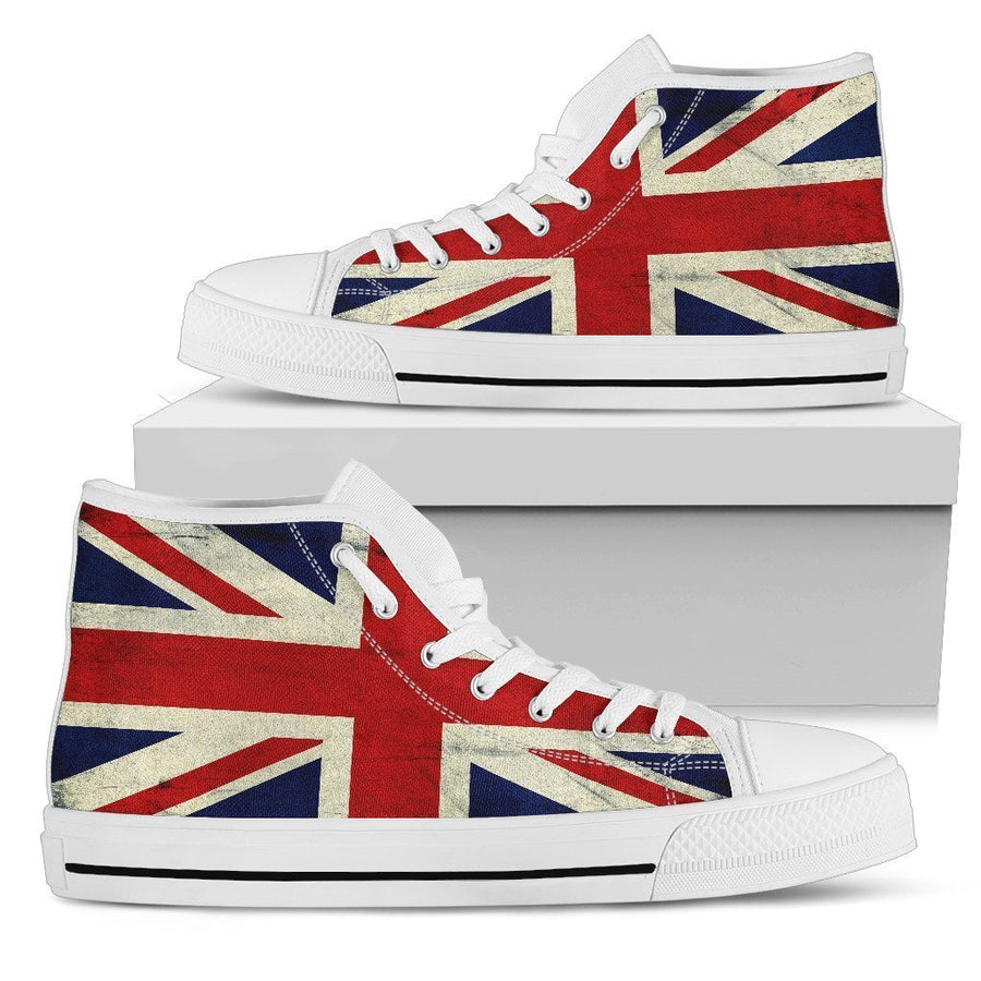 Grunge Union Jack British Flag Print Men's High Top Shoes GearFrost