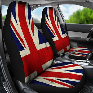 Grunge Union Jack British Flag Print Universal Fit Car Seat Covers GearFrost