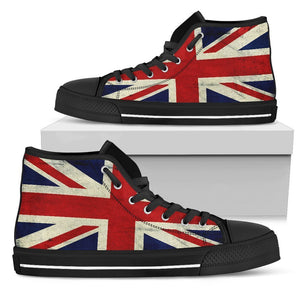 Grunge Union Jack British Flag Print Women's High Top Shoes GearFrost