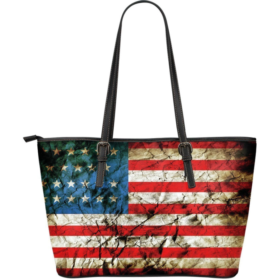 Grunge Wrinkled American Flag Patriotic Leather Tote Bag GearFrost