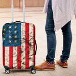 Grunge Wrinkled American Flag Patriotic Luggage Cover GearFrost
