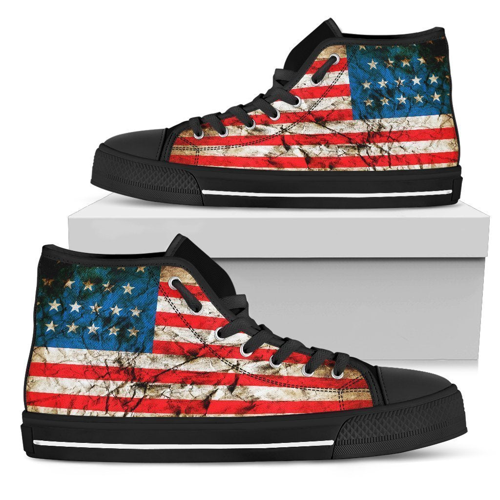 Grunge Wrinkled American Flag Patriotic Women's High Top Shoes GearFrost