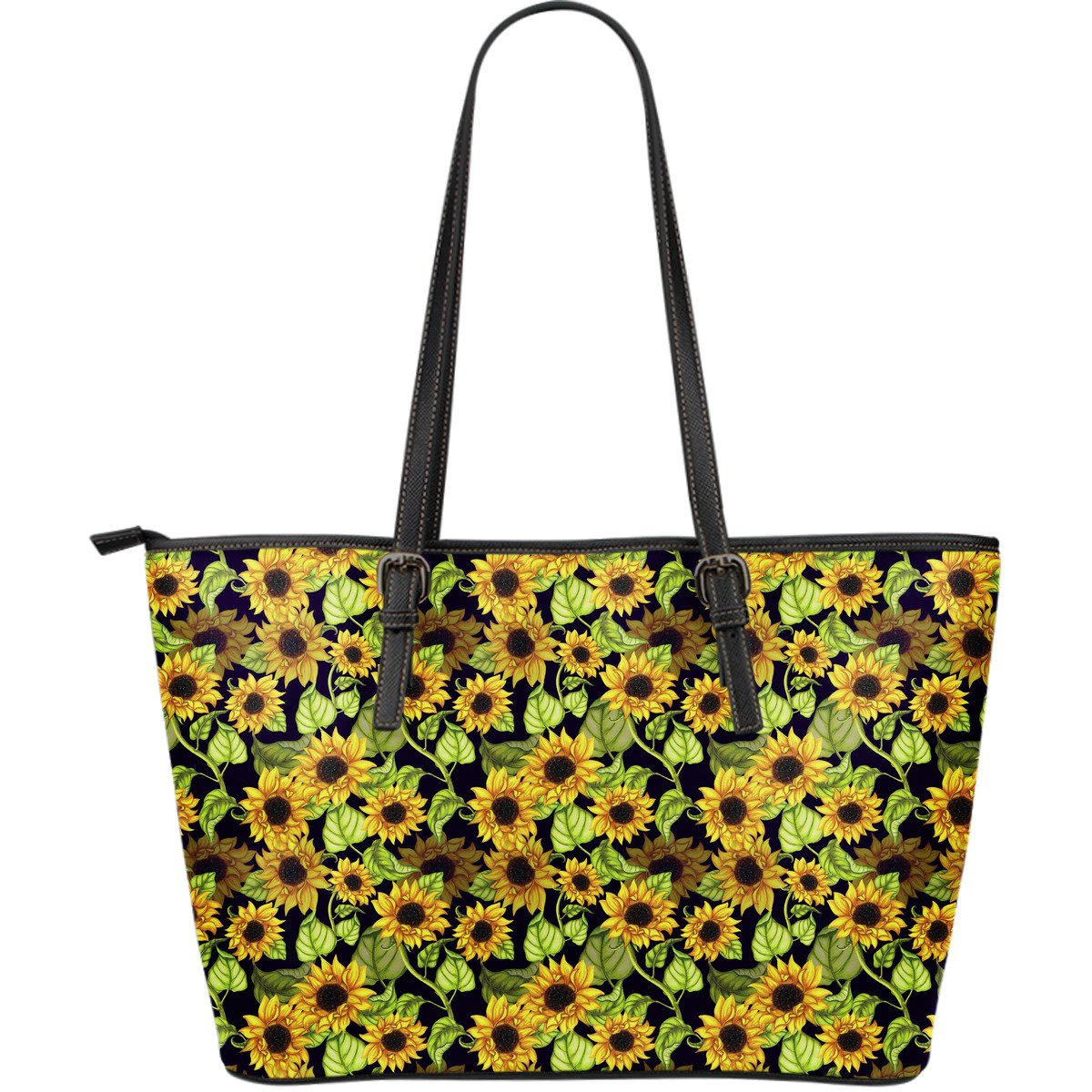 Hand Drawn Sunflower Pattern Print Leather Tote Bag GearFrost