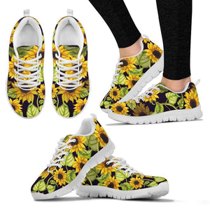 Hand Drawn Sunflower Pattern Print Women's Sneakers GearFrost