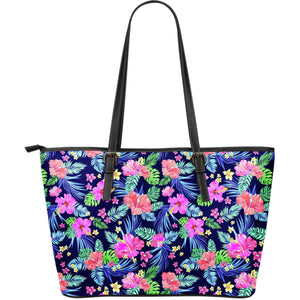 Hawaii Exotic Flowers Pattern Print Leather Tote Bag GearFrost