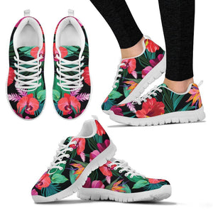 Hawaii Floral Flowers Pattern Print Women's Sneakers GearFrost