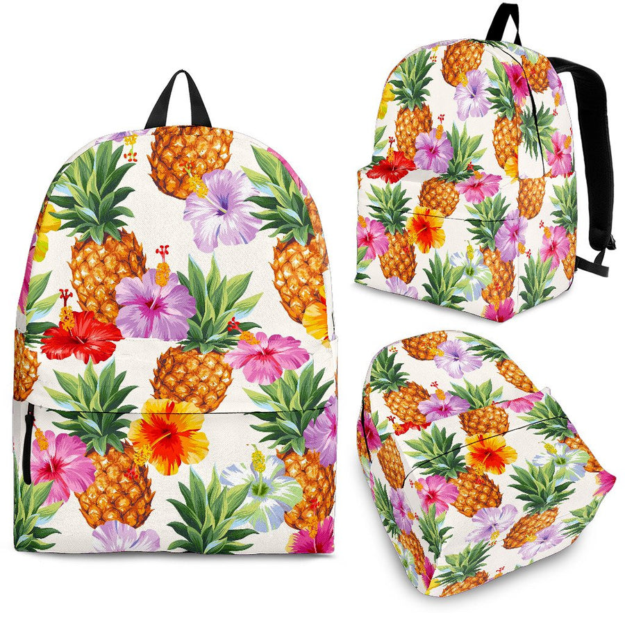 Hawaii Hibiscus Pineapple Pattern Print Backpack GearFrost
