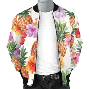 Hawaii Hibiscus Pineapple Pattern Print Men's Bomber Jacket GearFrost