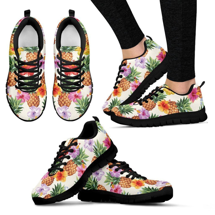 Hawaii Hibiscus Pineapple Pattern Print Women's Sneakers GearFrost