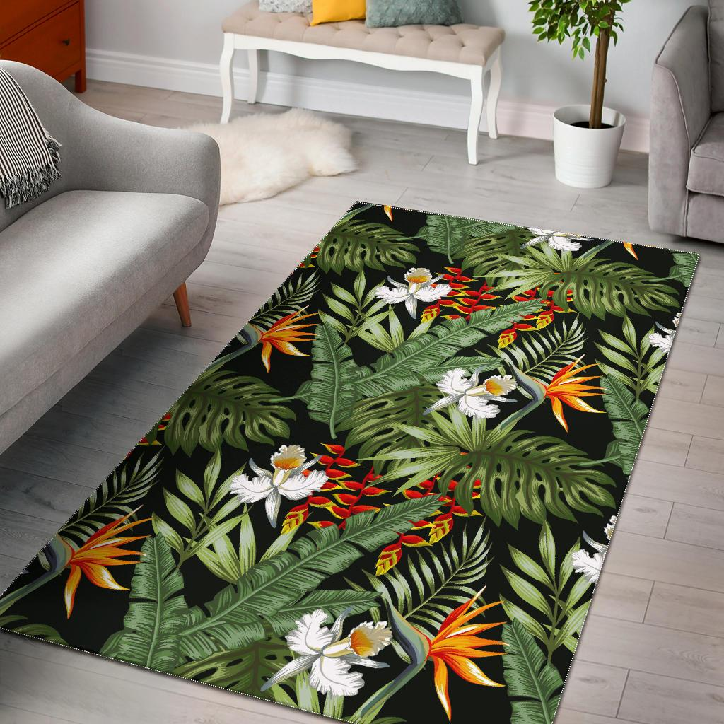 Hawaii Tropical Plants Pattern Print Area Rug GearFrost