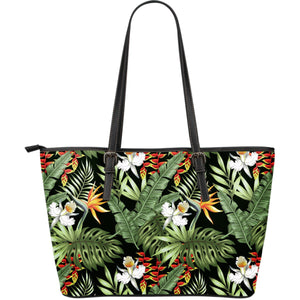 Hawaii Tropical Plants Pattern Print Leather Tote Bag GearFrost