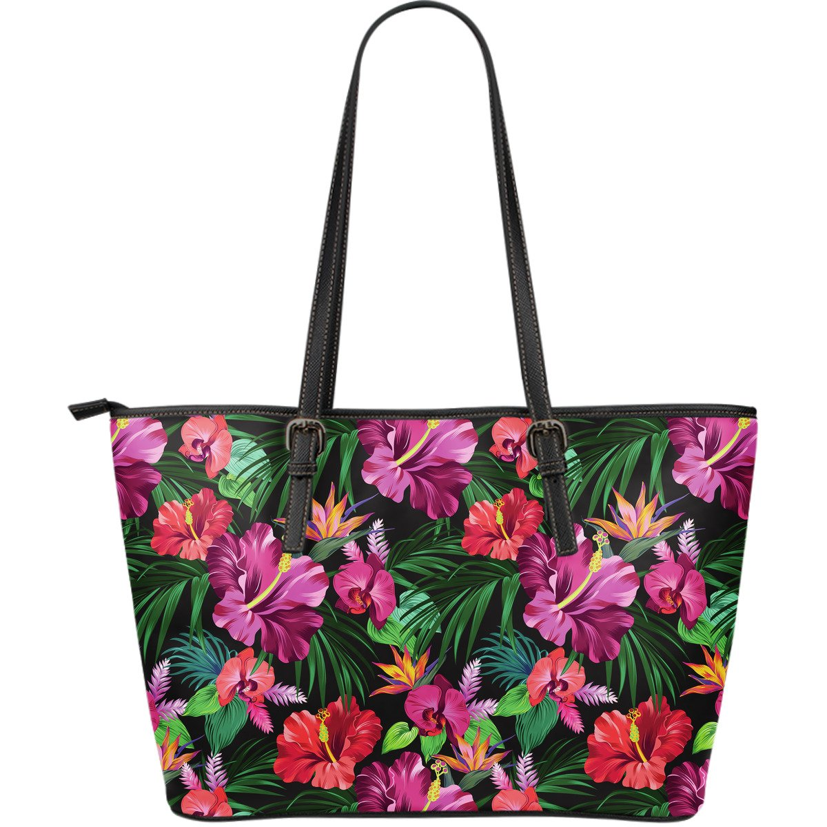 Hawaiian Floral Flowers Pattern Print Leather Tote Bag GearFrost