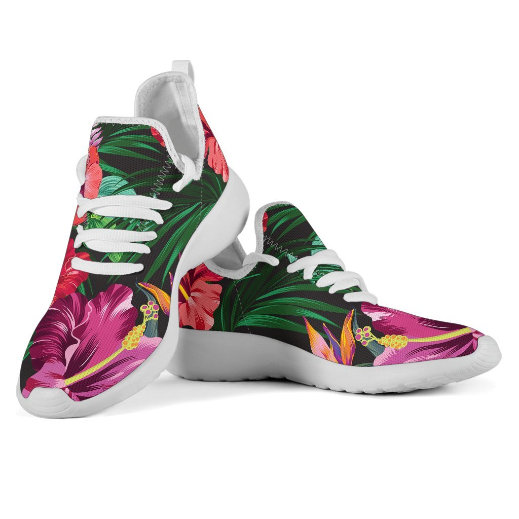 Hawaiian Floral Flowers Pattern Print Mesh Knit Shoes GearFrost