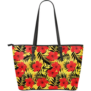 Hawaiian Hibiscus Flowers Pattern Print Leather Tote Bag GearFrost