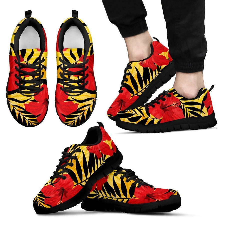 Hawaiian Hibiscus Flowers Pattern Print Men's Sneakers GearFrost