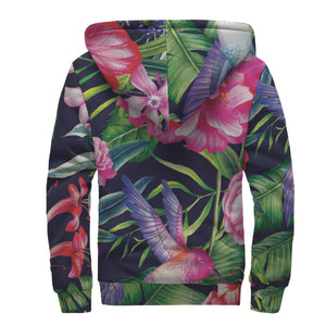 Hawaiian Tropical Birds Pattern Print Sherpa Lined Fleece Hoodie GearFrost