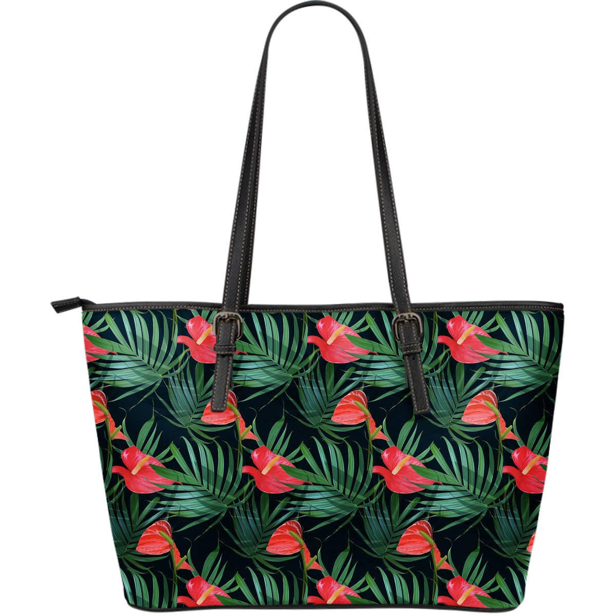 Hawaiian Tropical Flowers Pattern Print Leather Tote Bag GearFrost