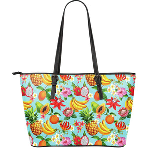 Hawaiian Tropical Fruits Pattern Print Leather Tote Bag GearFrost