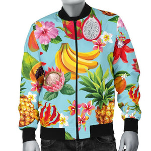 Hawaiian Tropical Fruits Pattern Print Men's Bomber Jacket GearFrost