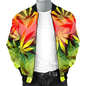 Hemp Leaf Reggae Pattern Print Men's Bomber Jacket GearFrost