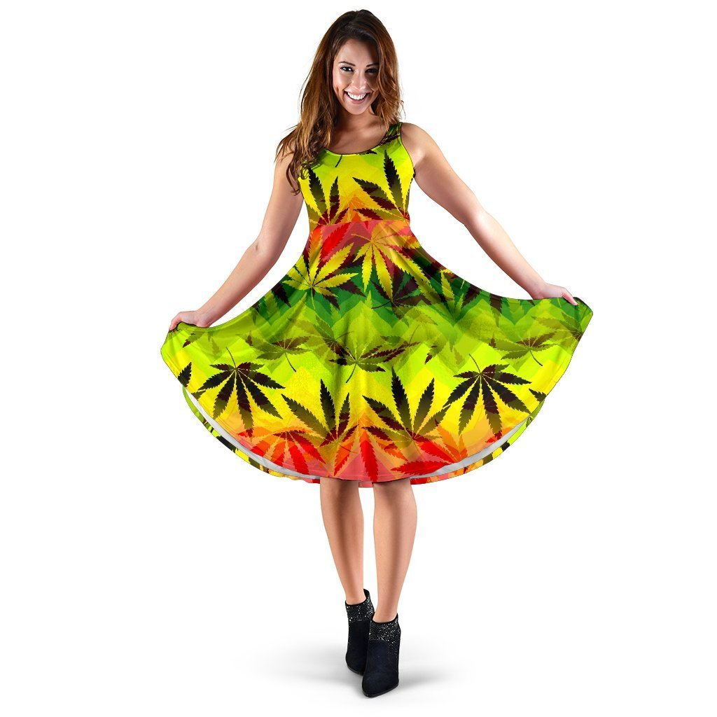 Hemp Leaf Reggae Pattern Print Women's Dress GearFrost