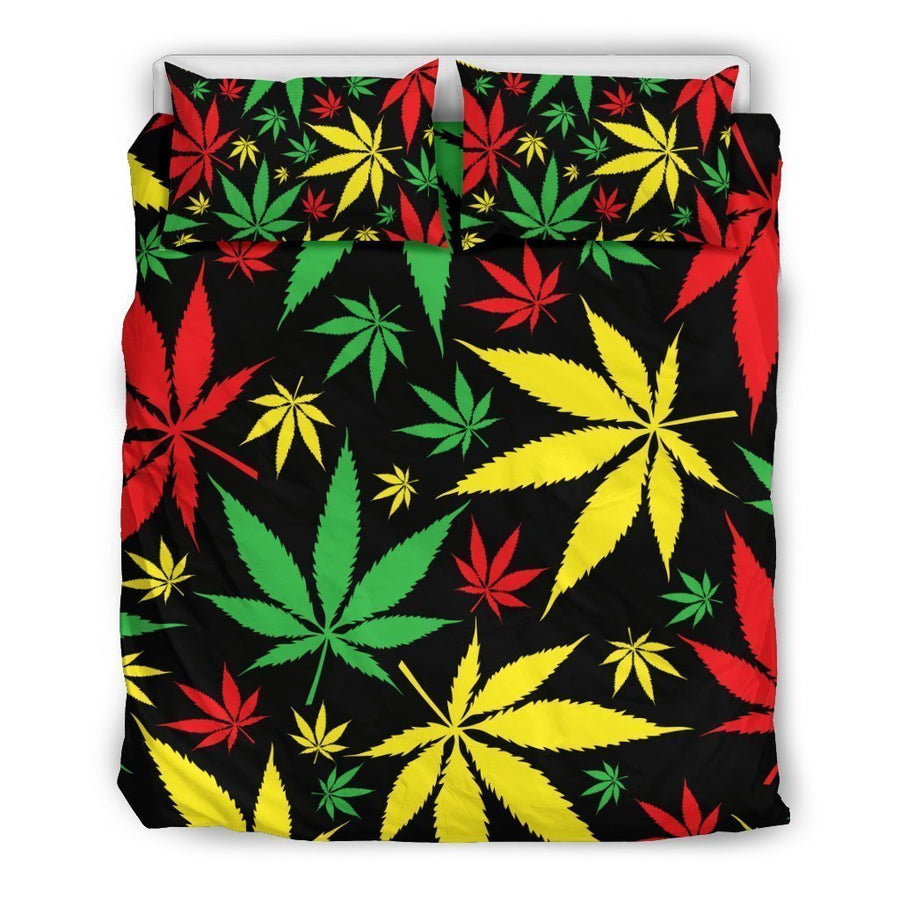 Hemp Leaves Reggae Pattern Print Duvet Cover Bedding Set GearFrost