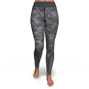 Hexagon Grey Camo Pattern Print Women's Yoga Pants GearFrost