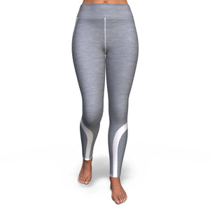 Hexagon Grey White Pattern Print Women's Yoga Pants GearFrost