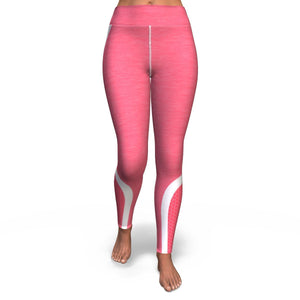 Hexagon Pink White Pattern Print Women's Yoga Pants GearFrost