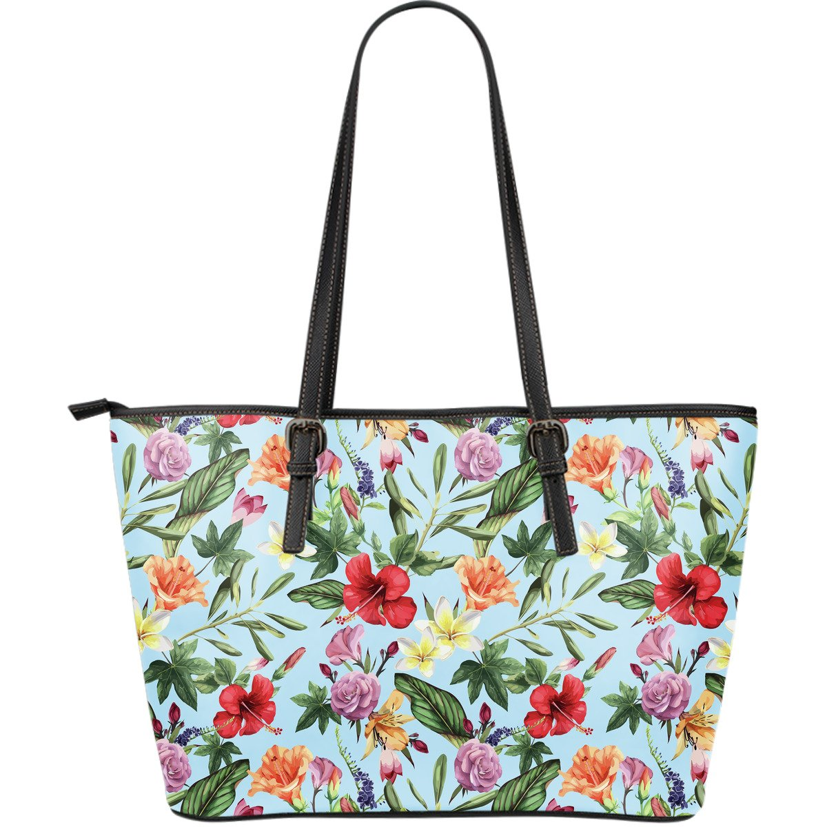 Hibiscus Flower Floral Pattern Print Leather Tote Bag GearFrost